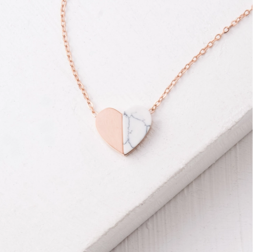 Alexis Rose Gold Heart Pendant Necklace