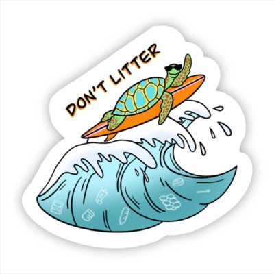 Don't Litter Sea Turtle Sticker