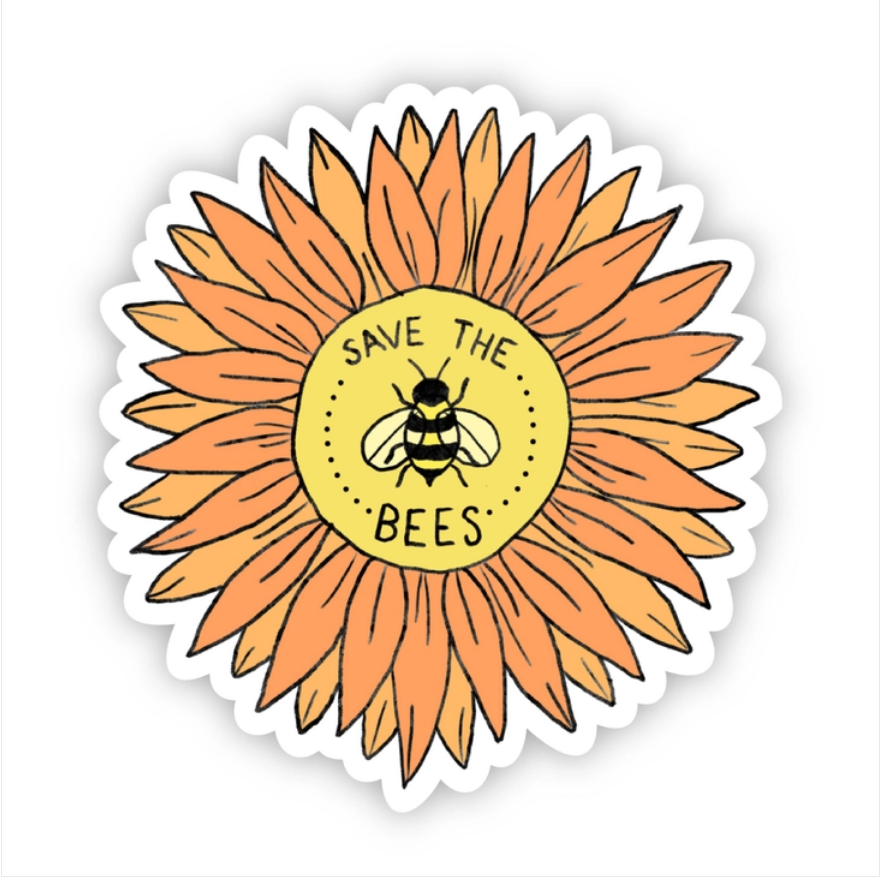 Save The Bees Sunflower Sticker