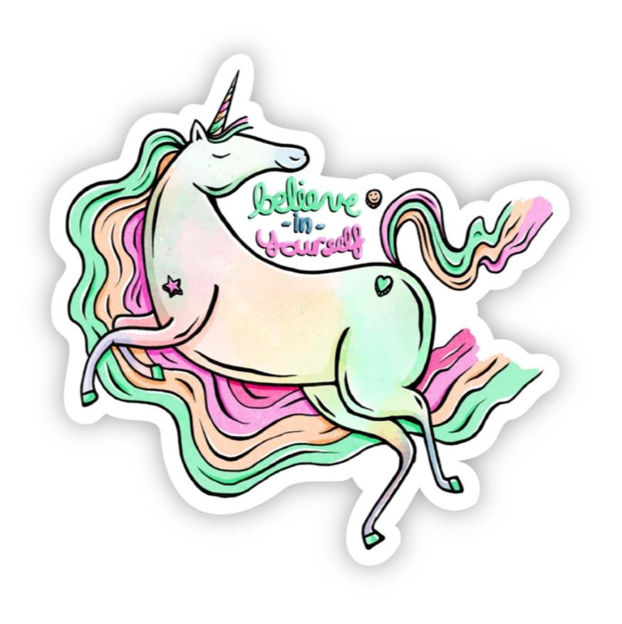Believe In Yourself Rainbow Unicorn Sticker