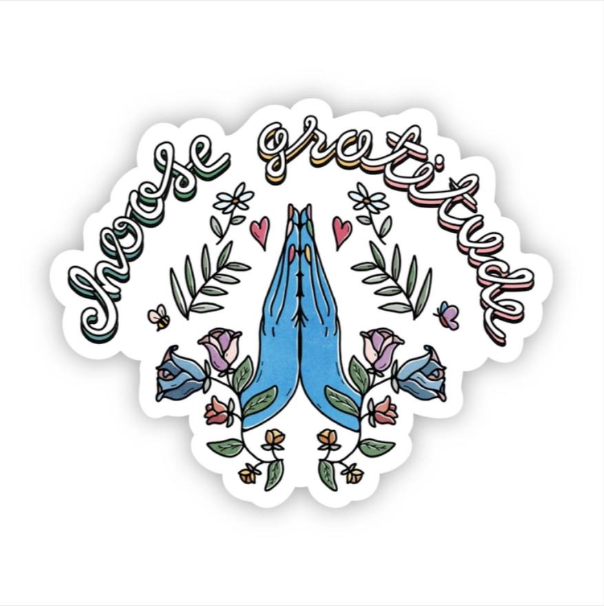 Choose Gratitude Blue Hands Sticker