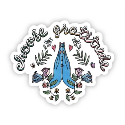 Choose Gratitude Blue Hands Sticker