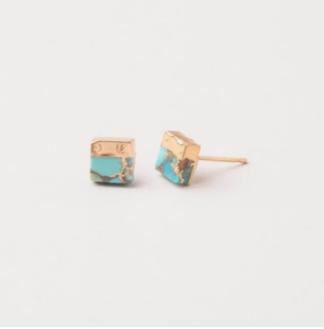 Lorena Square Turquoise Stud Earrings