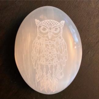 Engraved Selenite Owl