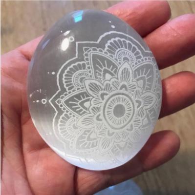 Engraved Selenite Mandala