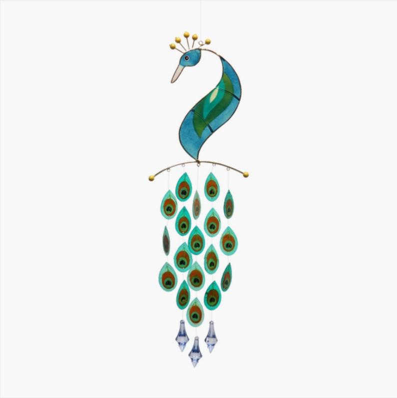 Peacock Capiz Windchimes