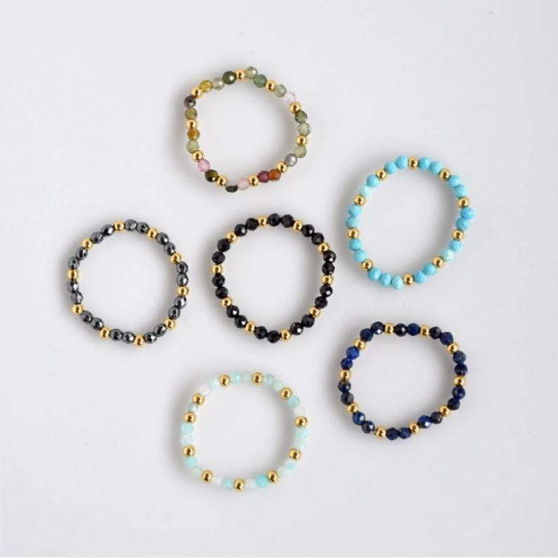 Stretch Natural Gemstone Rings