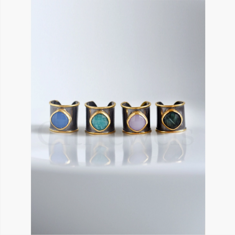 Hand Crafted Two Tone Cuff Ring (with Gemstones)