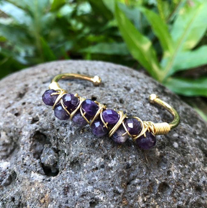 Amethyst Beaded Cuff Bracelet