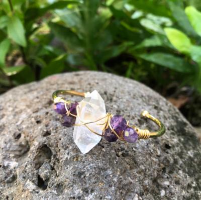 Crystal Quartz & Amethyst Gemstone Cuff Bracelet