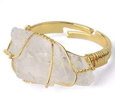 Crystal Quartz Rough Gemstone Adjustable Ring
