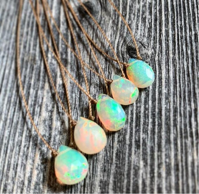 Ethiopian Opal Faceted Teardrop Necklace