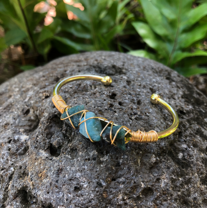 Blue Apatite Gold Bangle Cuff Bracelet