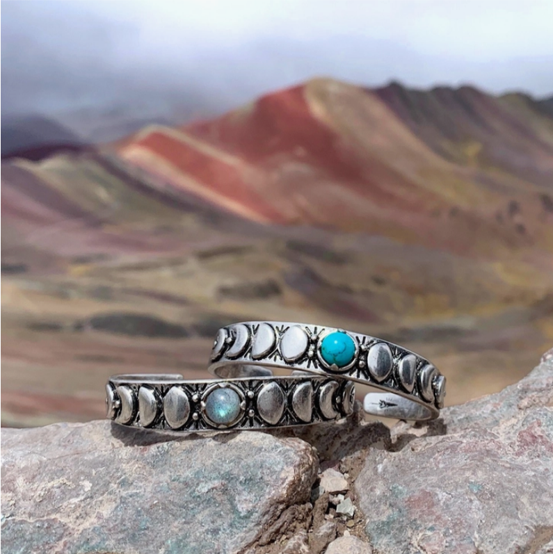 Moon Phases Cuff Bracelet (stone options)