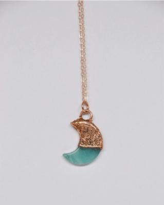 Copper Amazonite Moon Necklace