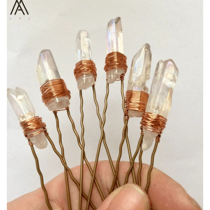 Wire Wrapped Quartz Point Hair Pins (2 options)