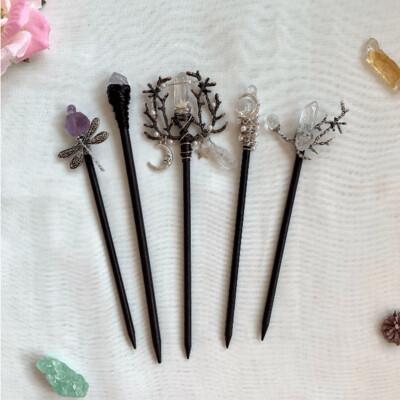 Handmade Vintage Wicca Moon Stars Crystal Branch Hair Sticks (Various Styles)