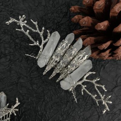 Quartz Tree Branch Hair Comb