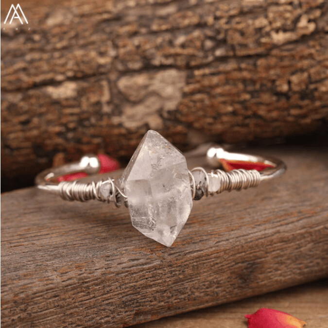 Raw Herkimer Diamond Point Cuff Bangle