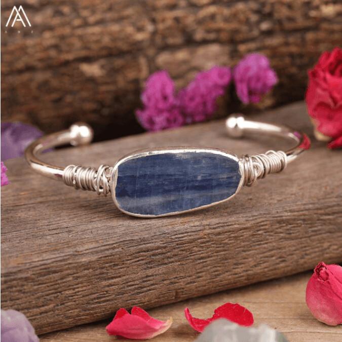 Natural Blue Kyanite Cuff Bangle
