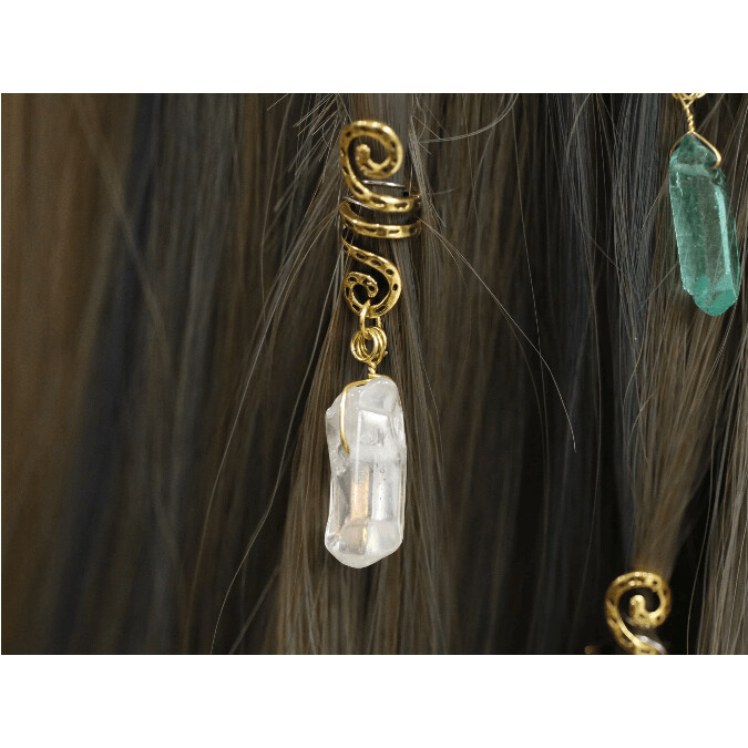 Raw Crystal Hair Rings - Viking Spirals (Various Styles)