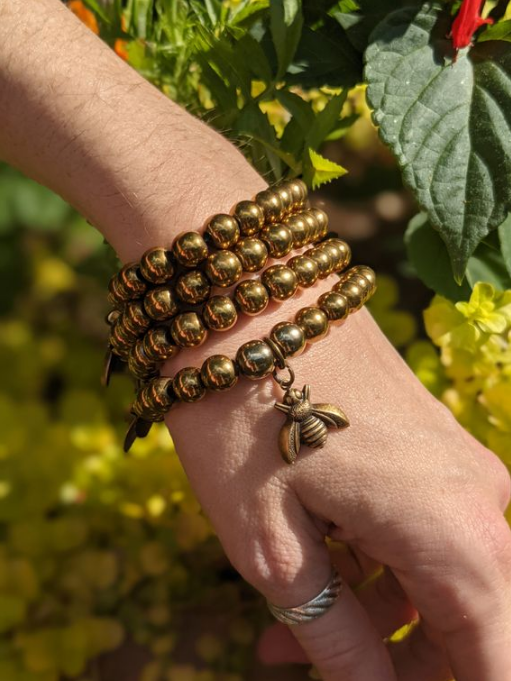 Summer Gold Hematite Bumble Bee Charm Bracelet