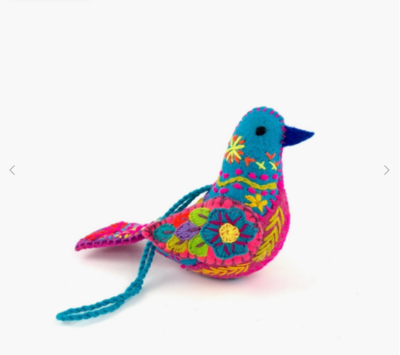 Embroidered Song Bird Ornament