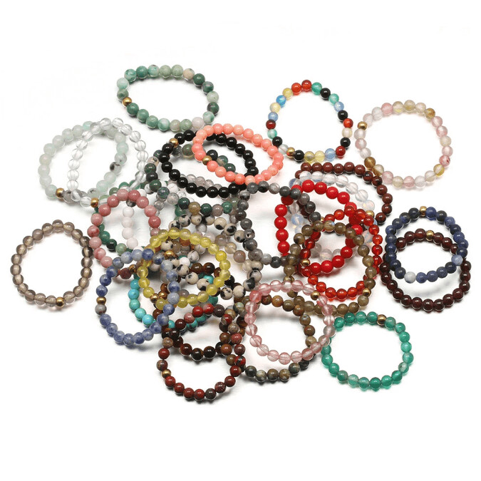 Stretch Natural Gemstone Rings (3mm beads)