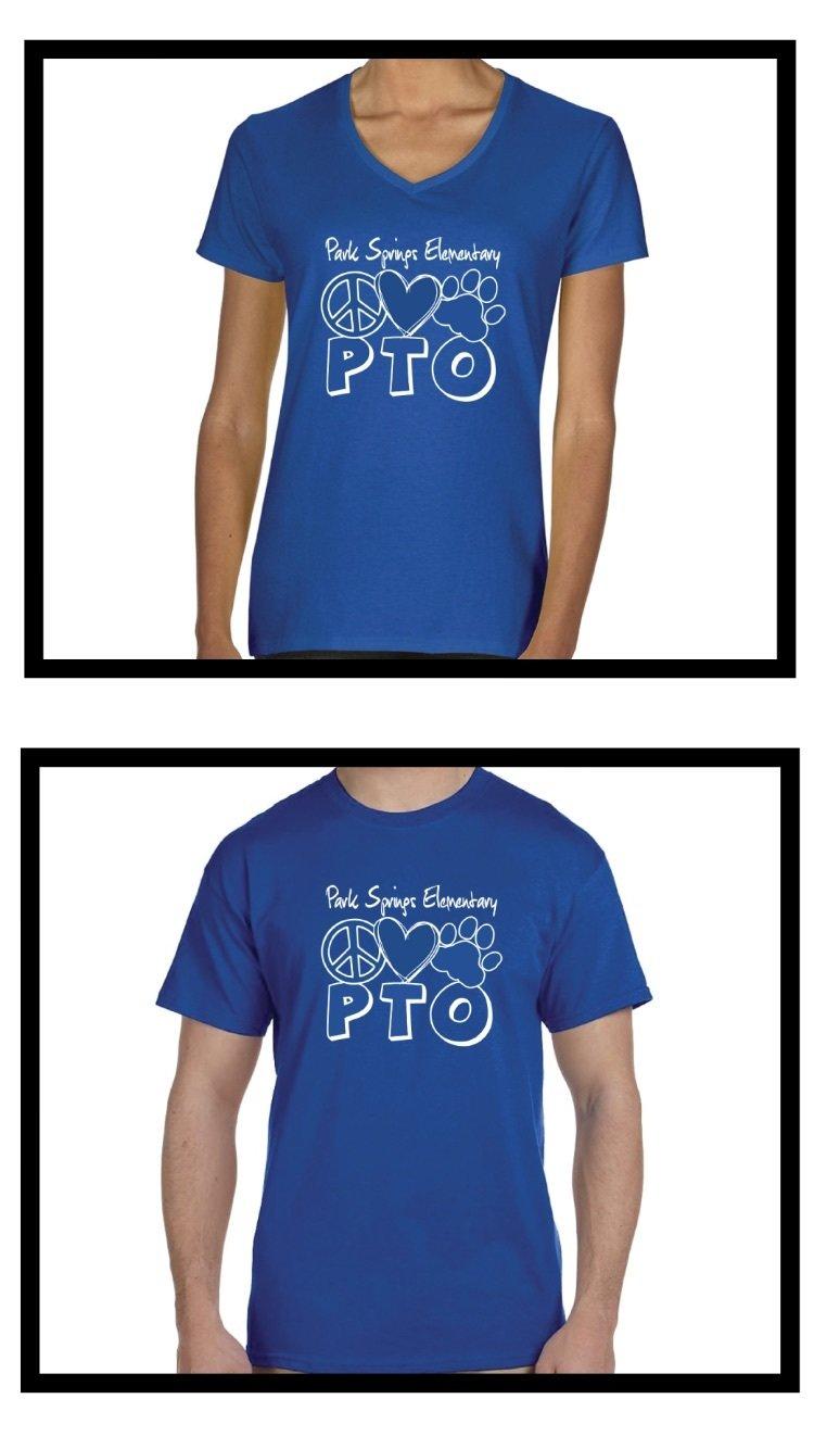 "PTO Adult Spirit Shirt - Says ""PTO"" under Logo. Choose V-neck or Crew style."