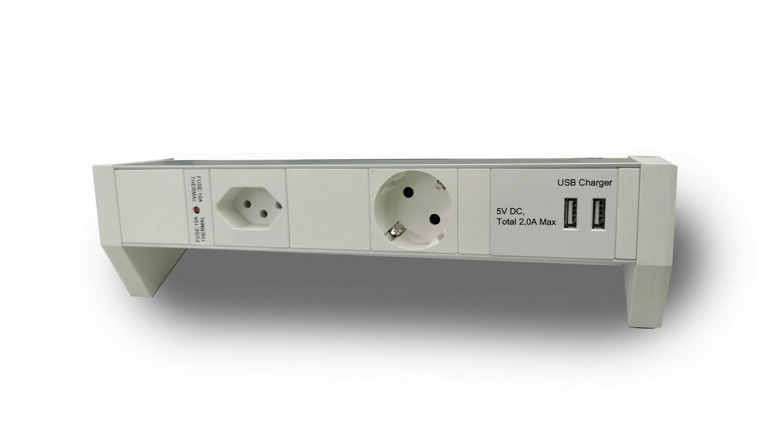 Deskline T13 & Typ F Steckdosenleiste mit 2-fach USB Charger