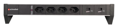 DESK-LINE, 4xT13 mit 2xUSB C & 2xUSB A Charger