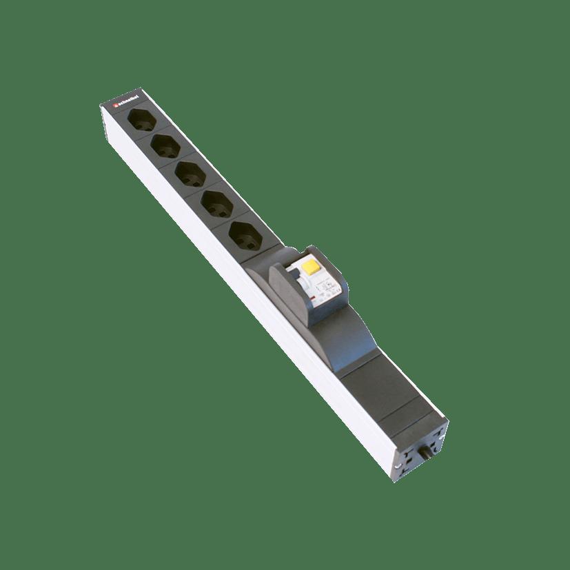 "Steckdosenleiste 19"" 1HE 5×T13 schwarz Stecker T12 mit FI/LS (RCBO)"