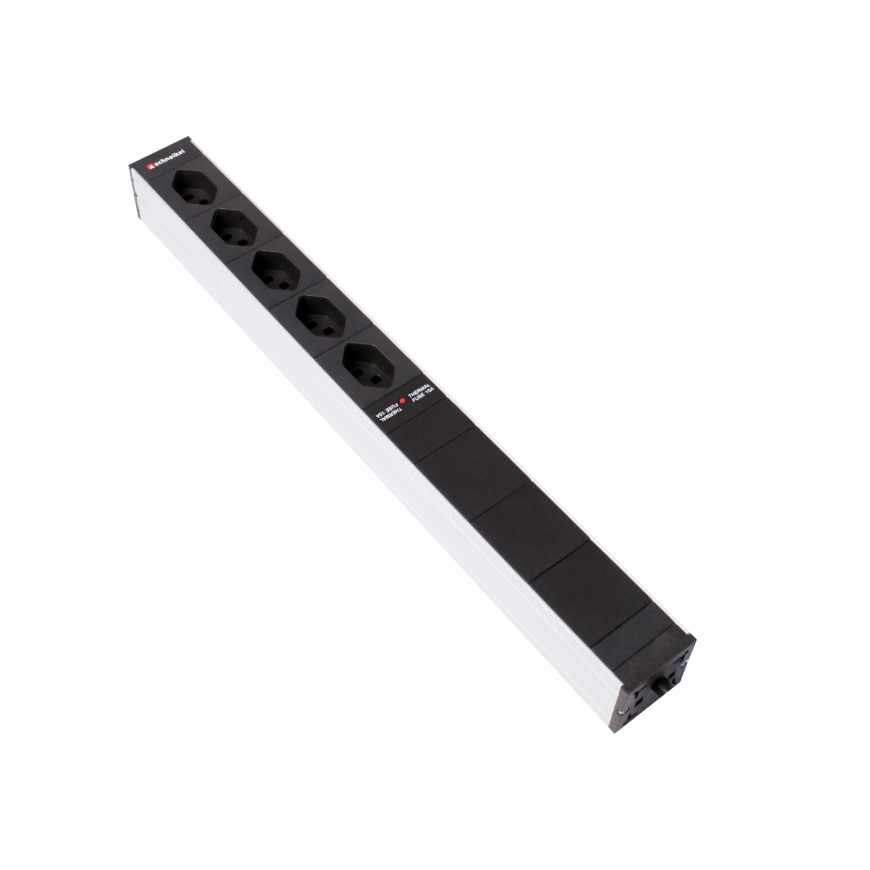 """Steckdosenleiste 19"""" 1HE 5×T13 schwarz Stecker T12 mit Überspannungsschutz und Protector"""