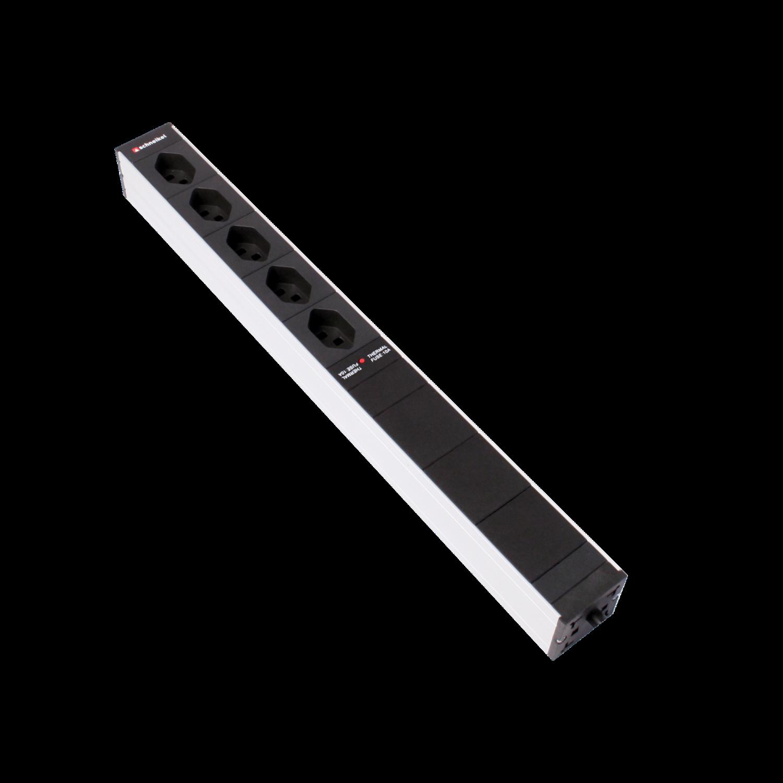 """Steckdosenleiste 19"""" 1HE 5×T13 schwarz Stecker T12 mit Überspannungsschutz, Netzfilter und Protector"""