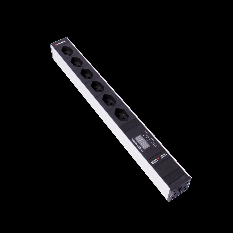 """Steckdosenleiste 19"""" 1HE 6×T13 schwarz Stecker T12 mit Leistungsmeter und Protector"""
