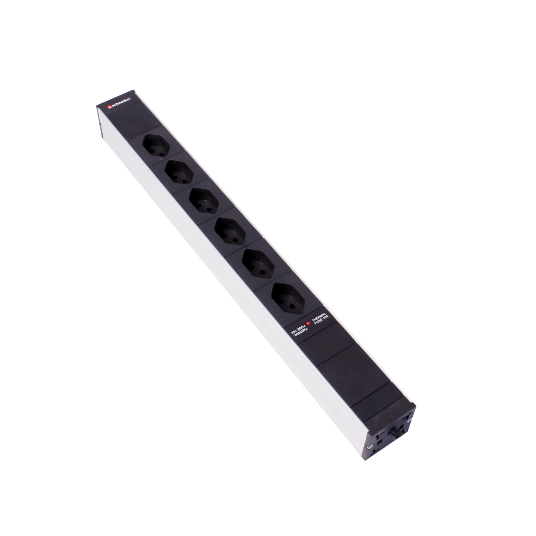 """Steckdosenleiste 19"""" 1HE 6×T13 schwarz Stecker T12 mit Netzfilter und Protector"""