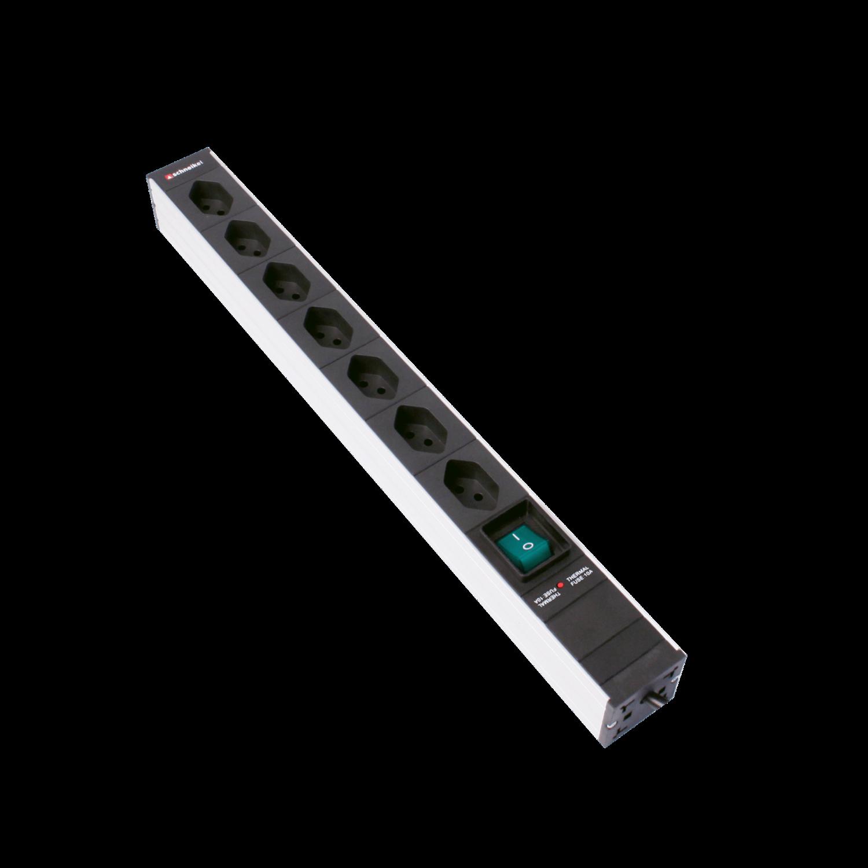 """Steckdosenleiste 19"""" 1HE 7×T13 schwarz Stecker T12 mit Schalter und Protector"""