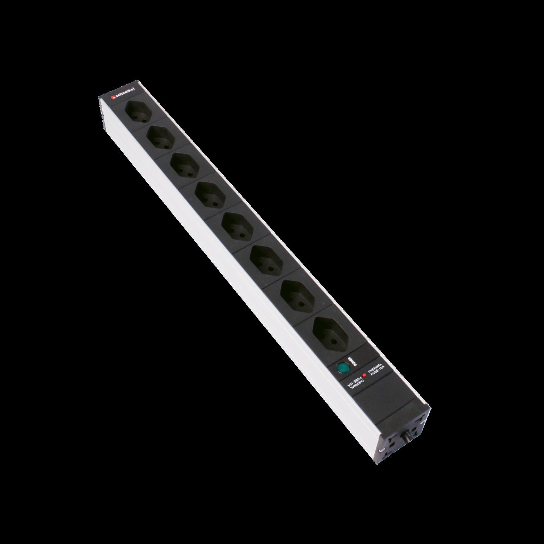 """Steckdosenleiste 19"""" 1HE 8×T13 schwarz Stecker T12 mit Power Anzeige und Protector"""