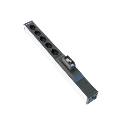 """Steckdosenleiste PDU 19"""" 1HE 5×T13 schwarz Stecker T12 mit Leitungsschutz (LS-Schalter)"""