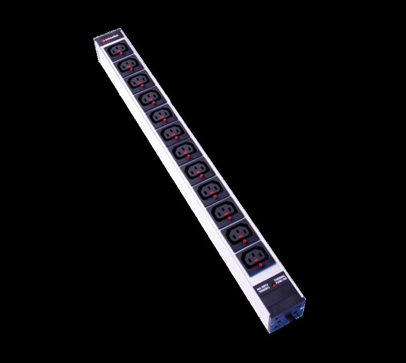 Steckdosenleiste 1HE 12xC13 lock schwarz Stecker CEE 16 blau mit Protector