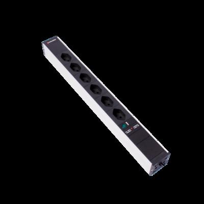 """Steckdosenleiste 19"""" 1HE 6×T13 schwarz Stecker T12 mit Power Anzeige und Protector"""