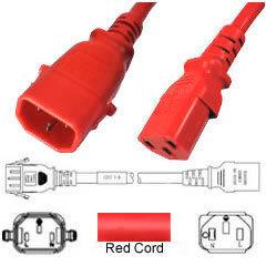 Apparatekabel rot C13-C14 verriegelt, 1.00 m