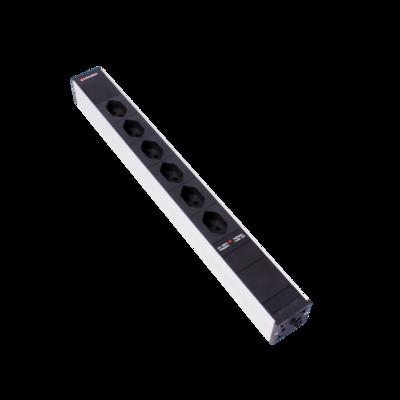 """Steckdosenleiste 19"""" 1HE 6×T13 schwarz Stecker T12 mit Protector"""