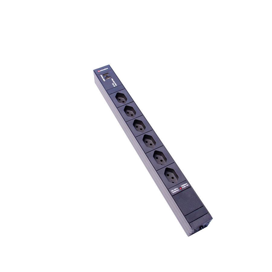 "Steckdosenleiste 19"" 1HE, 6 xT13, Einsatz schwarz mit USB-Charger integriert"