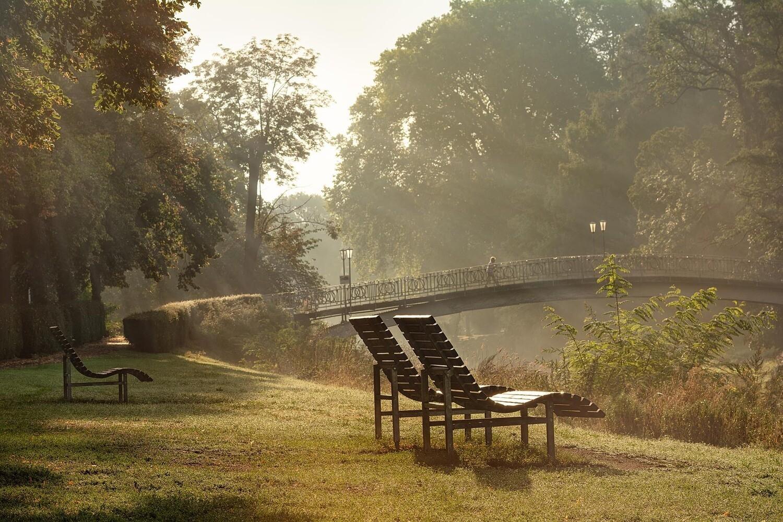 Dunstiger Morgen an der Maria-Hilf-Brücke in Bad Neuenahr - Leinwand
