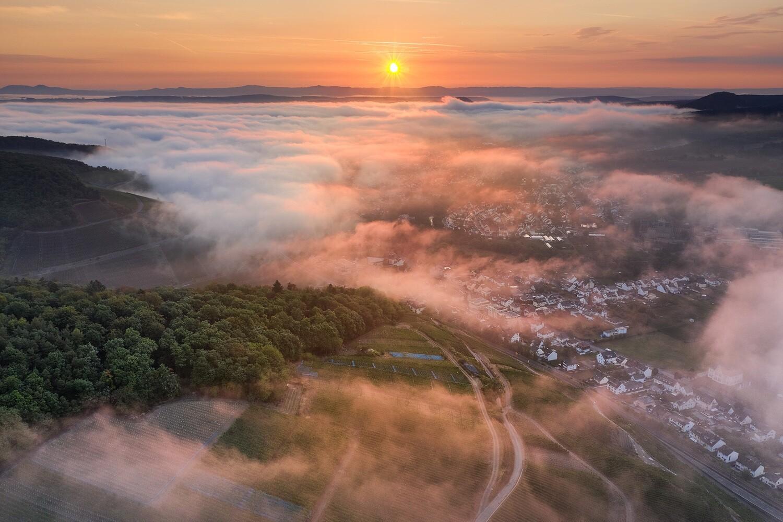 Nebel über dem Ahrtal nach einem Sommergewitter
