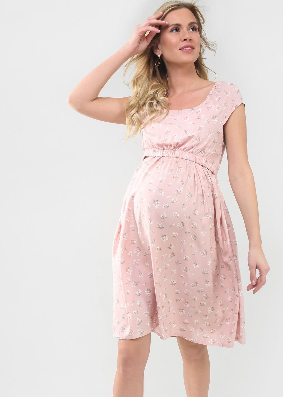 """ILoveMum. Платье """"Павлина"""" для беременных и кормящих: пудра/цветы, размер 42"""