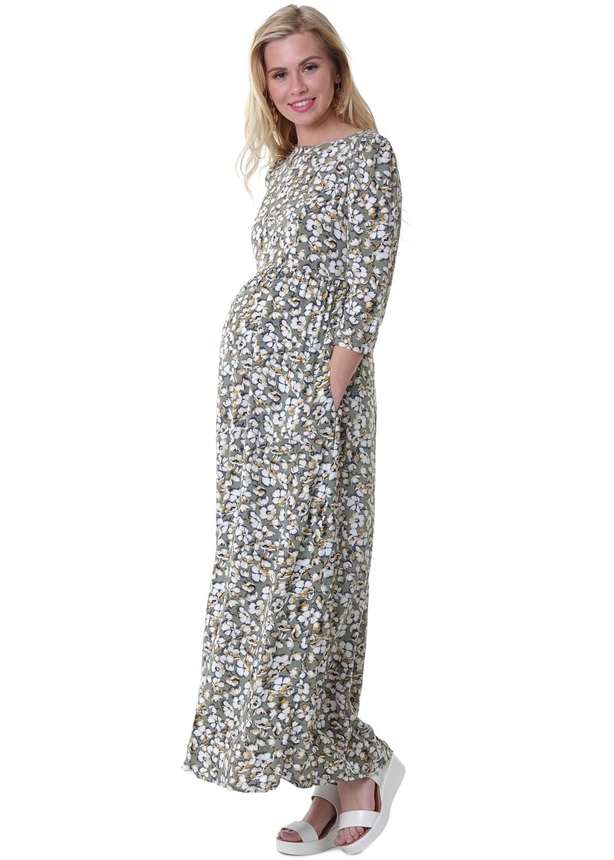 """ILoveMum. Платье """"Лесоль"""" для беременных и кормящих: зеленый/цветы, размер 44"""