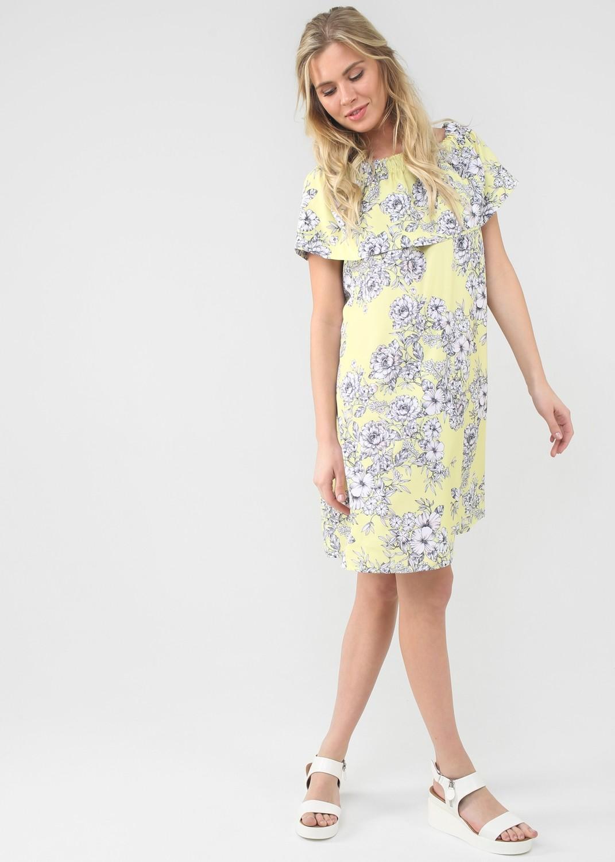 """ILoveMum. Платье """"Контент"""" для беременных и кормящих желтый/цветы"""