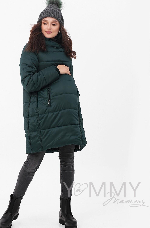 Y@mmy Mammy. Зимнее пальто-трансформер 3 в 1, цвет изумруд, размер 42